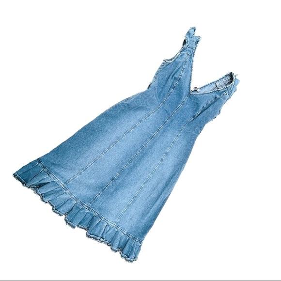 Moschino Vintage Denim Jean Ruffle Dress | SZ 10